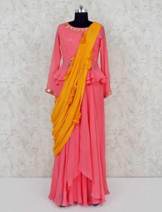 Pink georgette wedding punjabi lehenga suit