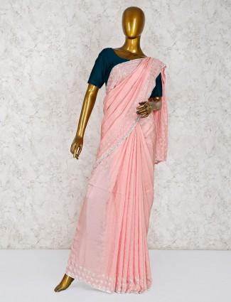 Pink hue party wear silk saree
