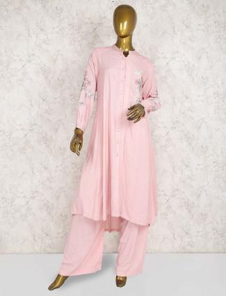 Pink hue pretty cotton punjabi palazzo suit