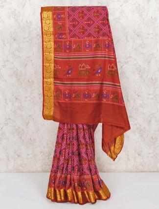 Pink patola printed festive cotton silk saree