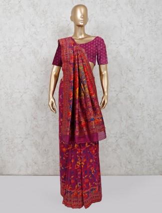 Pink printed cotton saree for wedding