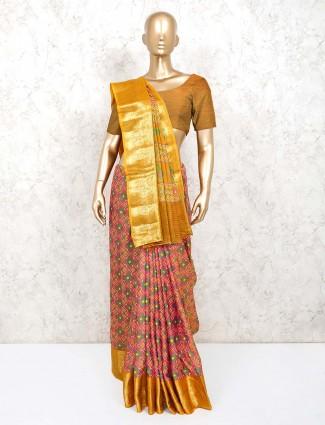 Pink printed design patola silk saree