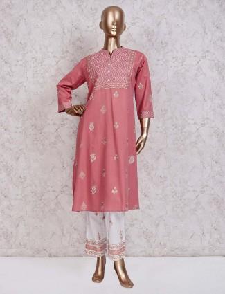 Pink printed festive punjabi pant suit