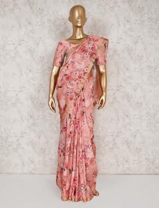 Pink printed semi silk saree