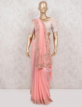 Pink pure silk ceremony occasion saree