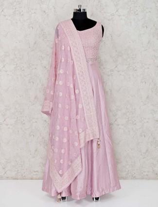 Pink raw silk floor length designer anarkali suit