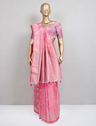 Pink semi banarasi silk sari