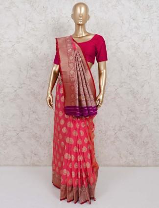 Pink semi silk zari weaving saree in festive