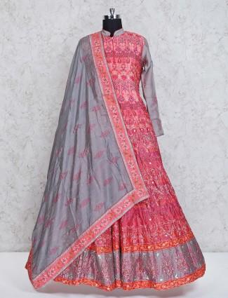 Pink silk designer anarkali suit for wedding