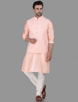 Pink waistcoat set in raw silk