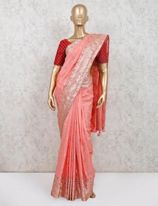 Pink zari inflated muga silk saree