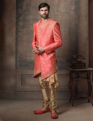 Pink zari weaving silk fabric wedding indo western