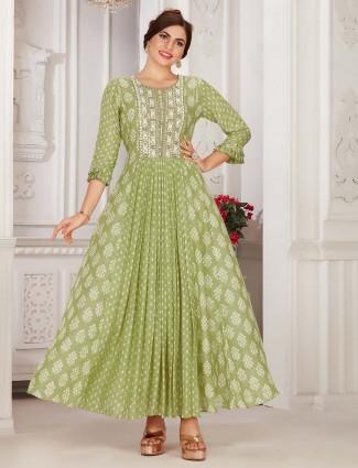 Pista green cotton festive wear kurti