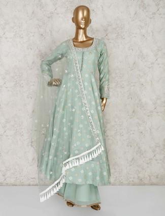 Pista green cotton silk anarkali palazzo suit