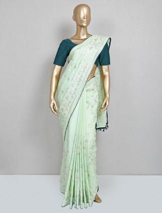 Pista green cotton silk festive wear saree