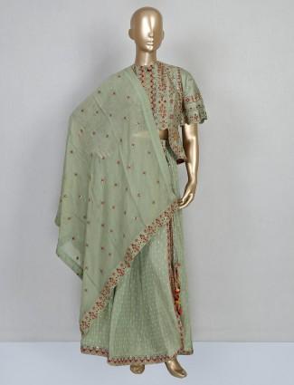 Pista green festive cotton silk designer salwar suit