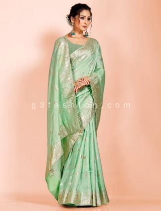 Pista green festive saree in dola silk