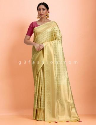 Pista green traditional art kanjivaram silk sari