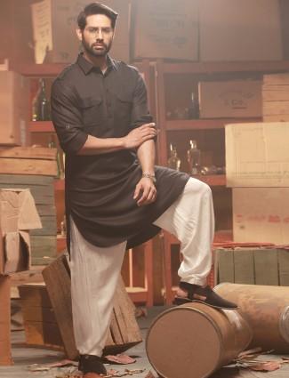 Plain black cotton attractive festive wear pathani suit