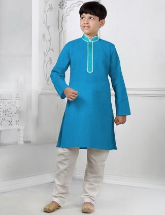 Plain blue festive wear cotton silk kurta suit