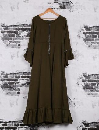 Plain olive cotton casual wear kurti
