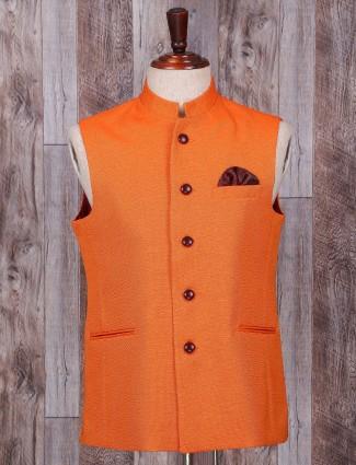 Plain terry rayon orange waistcoat