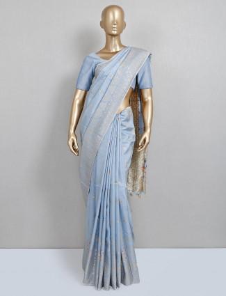 Powder blue dola silk saree for wedding functions