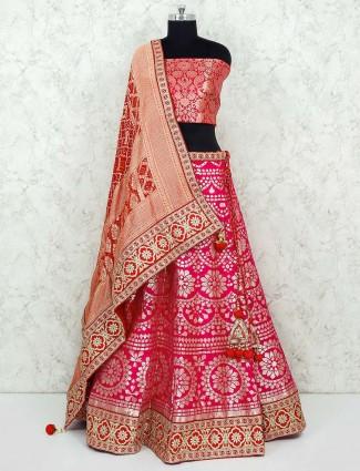 Pretty magenta banarasi silk bridal semim stitched lehenga choli