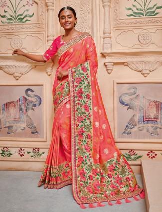 Pretty orange semi silk saree for wedding