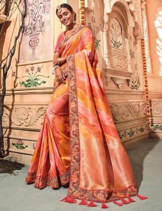 Pretty peach color semi silk saree
