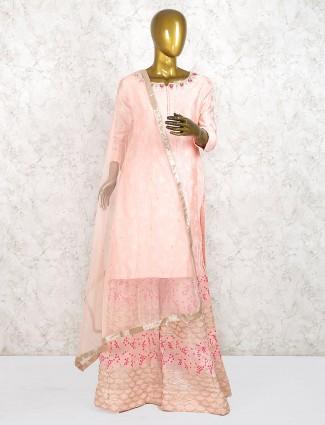 Pretty pink cotton silk festive punjabi palazzo suit