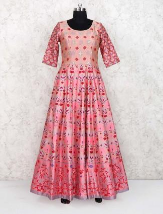 Pretty pink cotton silk printed anarkali suit