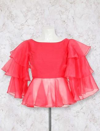 Pretty pink designer silk blouse