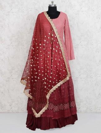 Pretty pink georgette lehenga cum salwar suit