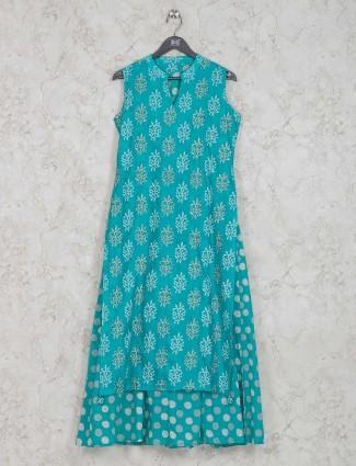 Printed aqua green cotton kurti