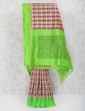 Printed beige color pure silk saree