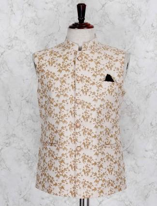Printed beige terry rayon festive waistcoat
