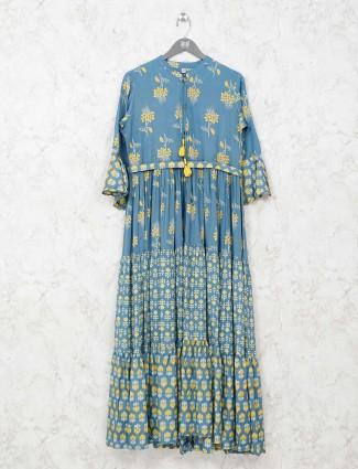 Printed blue cotton casual kurti