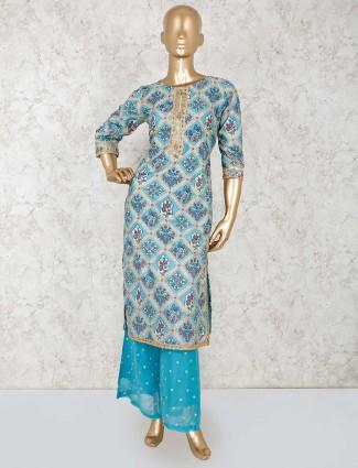 Printed blue palazzo set in cotton silk