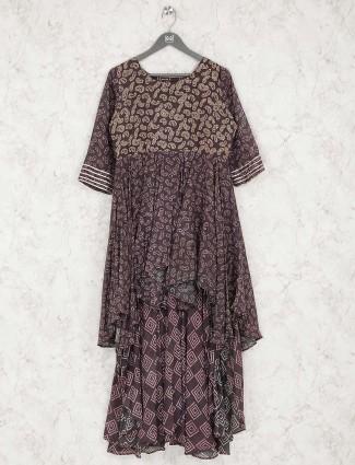 Printed brown color designer cotton kurti