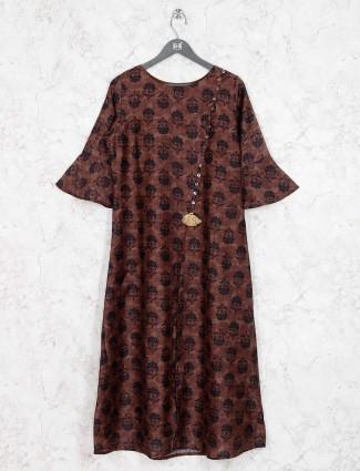 Printed brown colored cotton kurti
