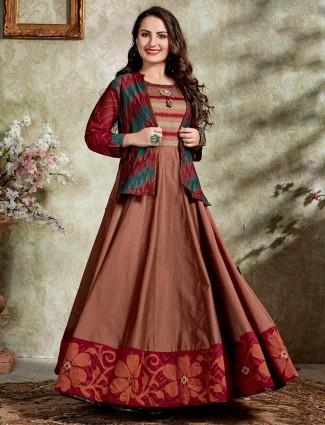 Printed brown jecket style anarkali kurti