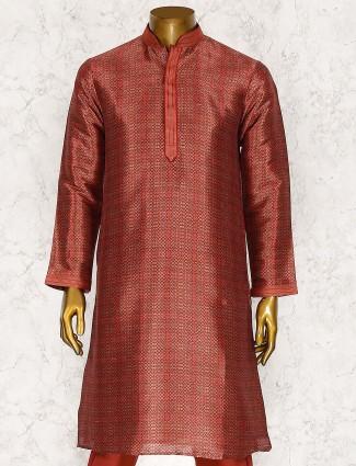 Printed hued maroon color kurta suit