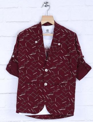 Printed maroon hue casual blazer
