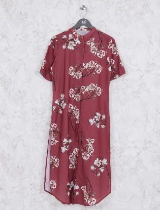 Printed maroon hue cotton kurti