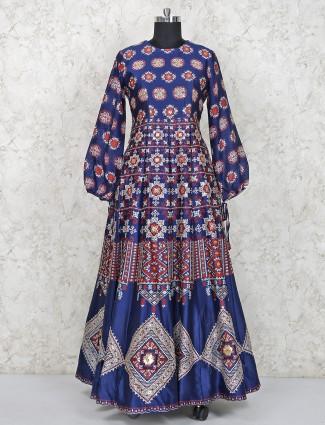 Printed navy blue cotton silk anarkali salwar suit