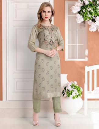 Printed olive cotton silk punjabi pant suit