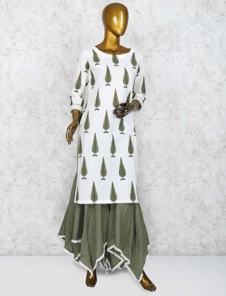 Printed olive green festive designer sharara suit