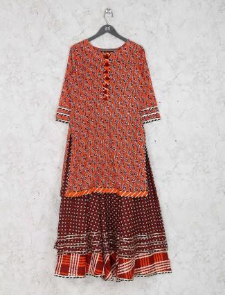 Printed orange color casual wear kurti