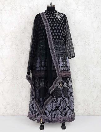 Printed pattern black georgette fabric anarkali suit